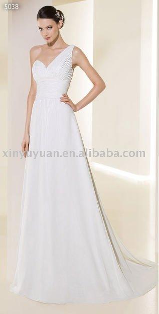 2011 couture single strap chiffon outdoor destination wedding dresses ADW