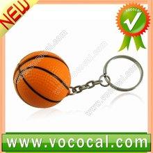1 x Orange Mini Rubber Basketball Shaped Key Chain