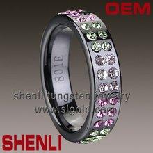 Black ceramic ring Brushed Inlay polished shiny wedding hair accessories
