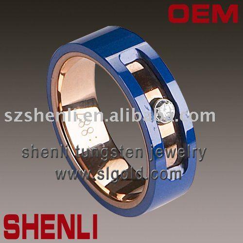 rose gold Plating tungsten bule ceramic mens tungsten rings wedding rings