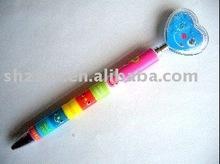 heart pusher ball pen/customised ballpen/promotional plastic pen