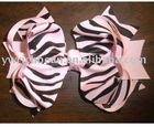 5.5 INCH PINK ZEBRA HAIR BOW CLIP BARRETTE BABY GIRL SKS-05002