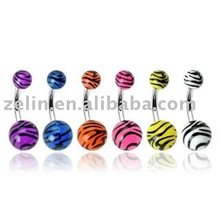 Lot of 6 UV Tiger Print Balls Belly Navel Piercing,body jewelry,navel jewelry