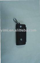 black leather car key case