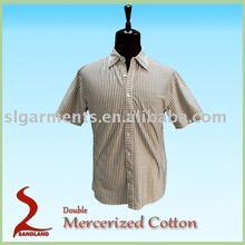 Double Mercerized Cotton Mens Short Sleeve Casual Shirts