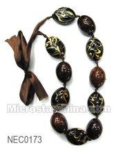 Beaded necklace, coffee, around 45-48cm long