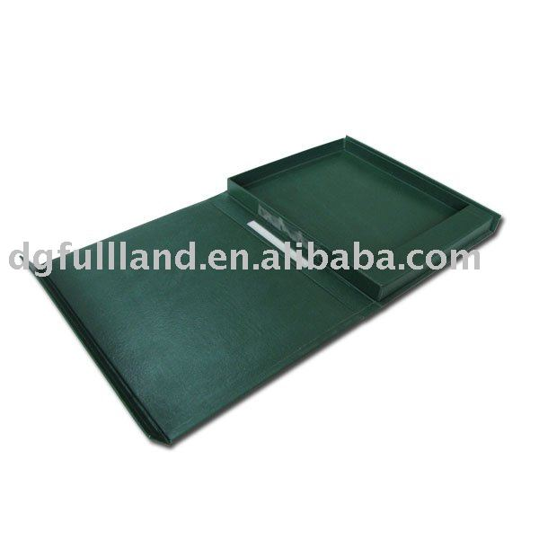 Green Leatherette Paper Document Box