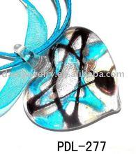 heart shaped colored glaze glass necklace