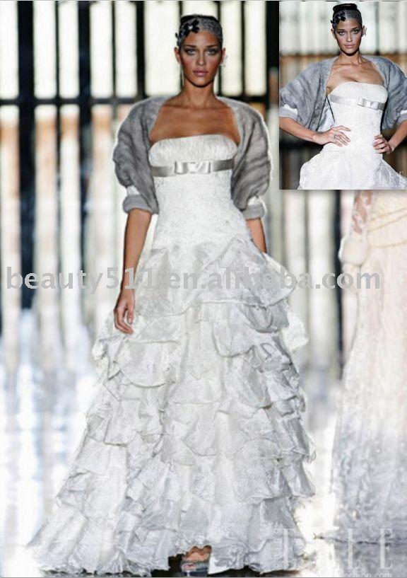 2011 warm winter fashionable fur wedding dress WDAH0536