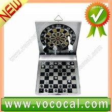 Aluminum Mini Magnetic dart board and Backgammon set travel game