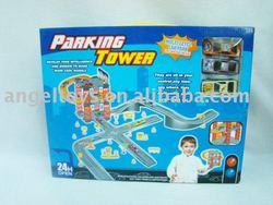 parking lot w/3 die-cast car