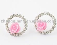 Pink Rose Round Diamond Earring