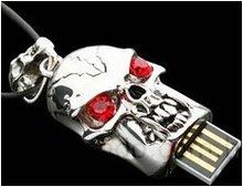 Skeleton Head Necklace Jewelry Diamond USB Flash Drive
