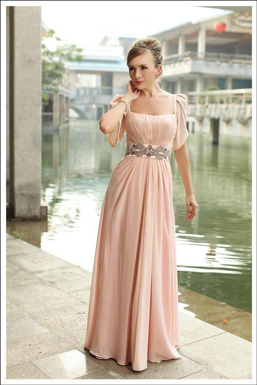 Designer dress D30291 baby pink princess line short sleeve hot selling low ...