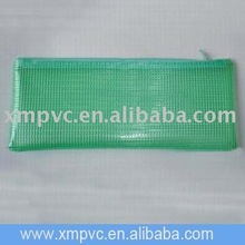 Green pvc plastic mesh bag with net for stationery D-Z074