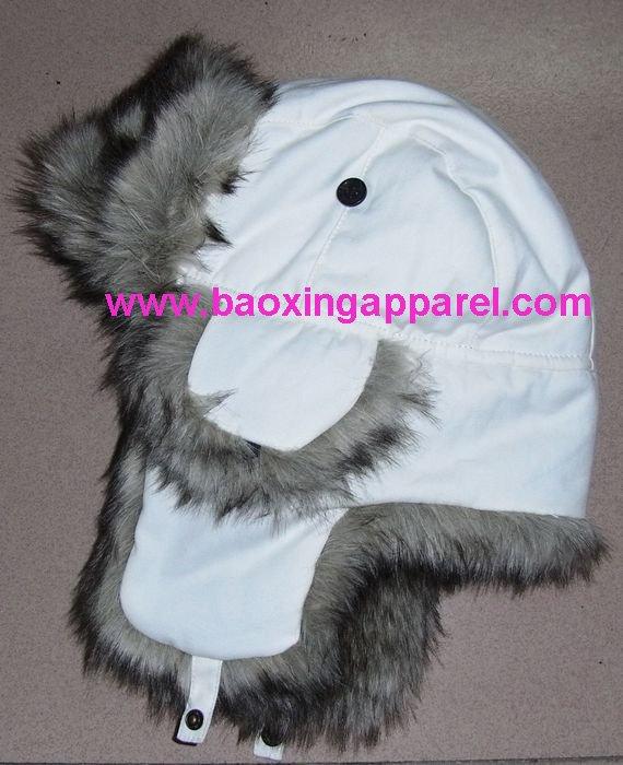 faux fur hat. cotton faux fur flyers trapper
