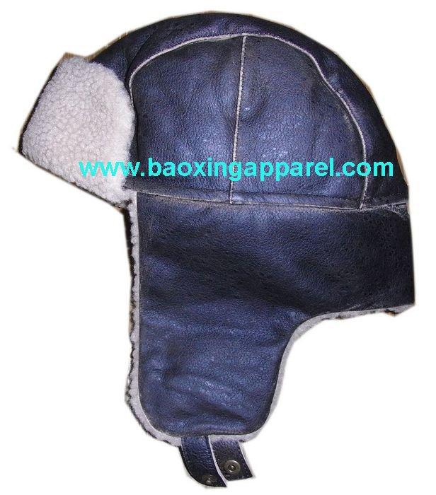 Pilot Hat Pattern Leather Alpaca Knit Hat Pilot