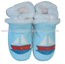 winter baby leather boots with soft fleece inside