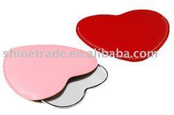 heart shape PU cosmetic mirror