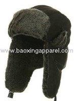 fur Aviator Tweed Trapper Trooper Winter Bomber Hat - black