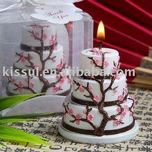 Wedding Cake candle-Cherry Blossom Design Cake Candle Favor