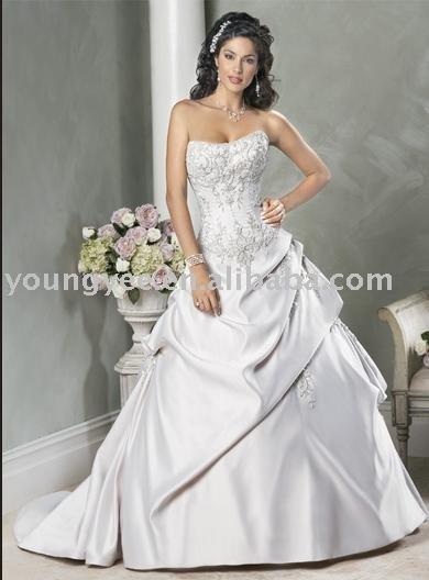strapless luxurious satin ball gown wedding dress 2011 AG9055