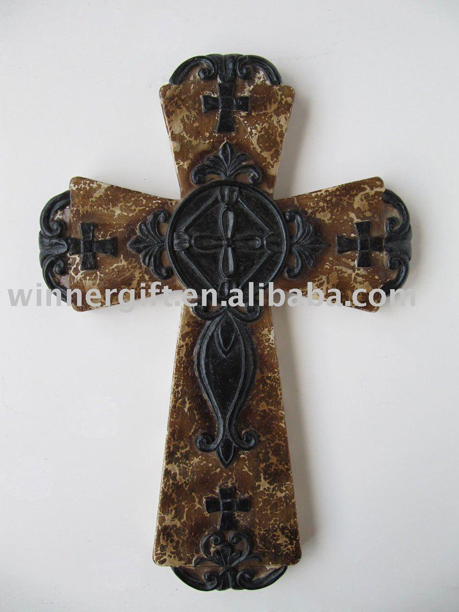 Resin Stone Finish Plaque Cross Design