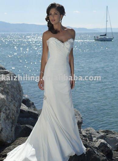 Beach chiffon custom cathedral train white long wedding dress Bridal Gown