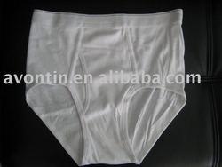 plain white rib cotton men's underwear boxer briefs
