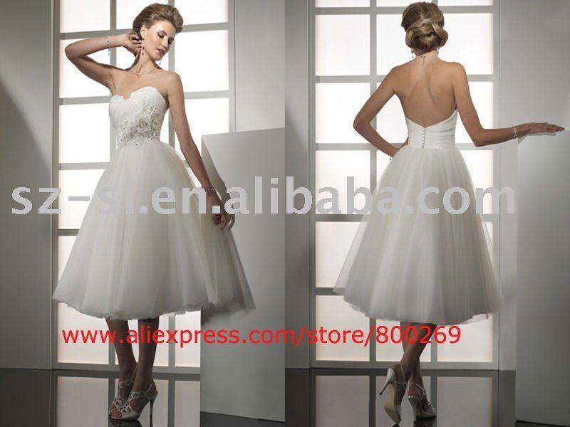 Short wedding dress halter strapless 2011 SL4452