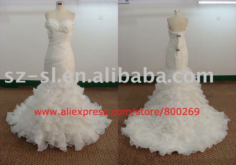 Mermaid strapless wedding dress organza 2011 SL4501
