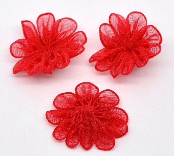 Flores de liston de organza - Imagui