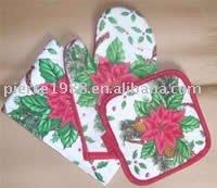 flowers design promotion gift & kitchen apron and gloves set