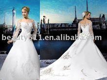 Hot selling 2015 custom made long sleeves and long train wedding dress WLD80