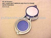new design metal photo frame key chain/round metal photo frame key ring