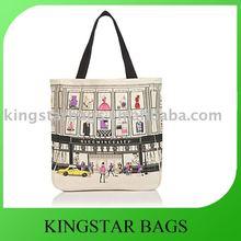 Eco canvas shopping bag, top self fabric binding