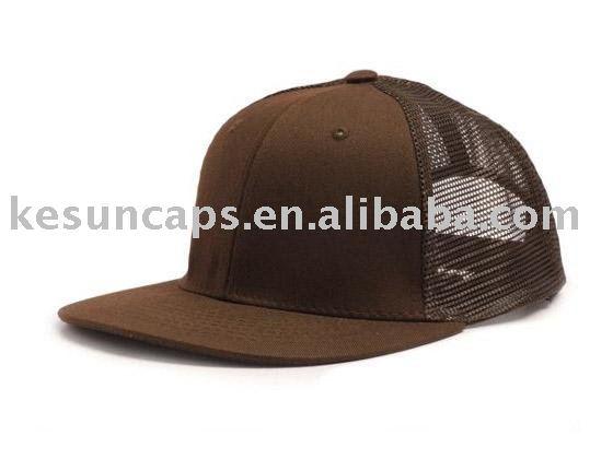 Mesh Baseball Cap. brown flat brim mesh baseball