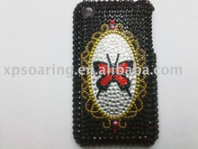 butterfly Rhinestone crystal hard case back cover for iphone 3G,3GS
