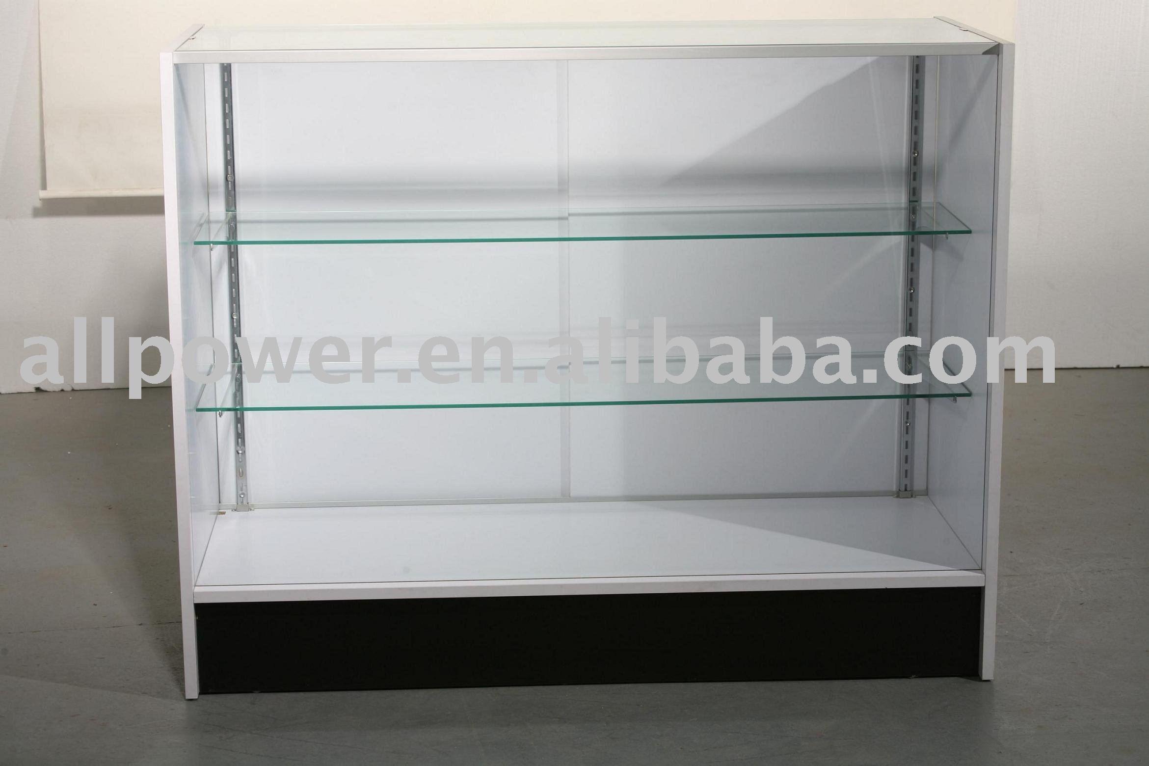 Balcão de madeira com prateleiras de vidro ( BCT3W4 ) Mostruários ID  #4D6460 2341x1561