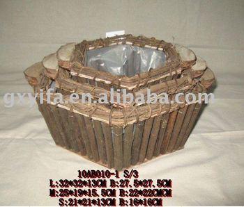 pentagon handmade wooden planter pot with plastic bag liner