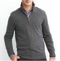 Algodón de los hombres jersey de cachemira abierto con cremallera suéter/jersey de géneros de punto de calidad swt-m10108 hombre