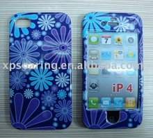 Blue flower hard case skin faceplate cover for iphone 4G