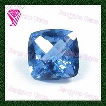 Shining sea blue square cut precious stone