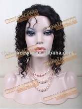 Stock fashion curly natural color India remy full lace wig