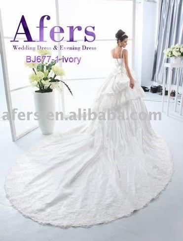 Beaytiful Long Sweep Brush Train Wedding DressesAfers newest wedding gown