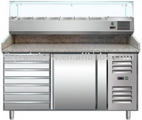 PZ1610TN refrigerated pizza countertop/prep table with granite top and ingredient pan cooler/counter display case for 6x1/3GN