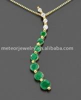 Gold Emerald & Diamond Accent Journey Pendant