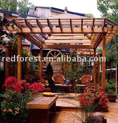 gazebo jardim madeira:Plástico de madeira gazebo-Arcos, pérgulas e ponte-ID do produto