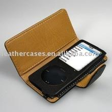 Leather Case for New iPod nano 4th (8GB/16GB) (Neck Strap Included) - book Type (Black)