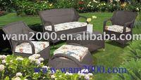 Patio garden aluminum pe round rattan sofa set for outdoor